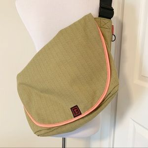 Performance Tweed Chartreuse,Coral, Teal Messenger